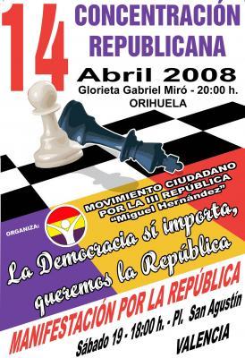 Concentración por la III República en Orihuela